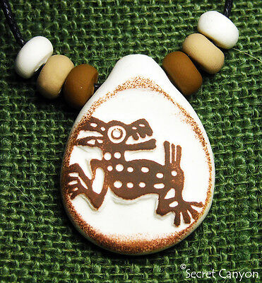 ~~COYOTE~~ PreColumbian Aztec Mayan Style Primitive Clay Pendant Necklace+ Beads