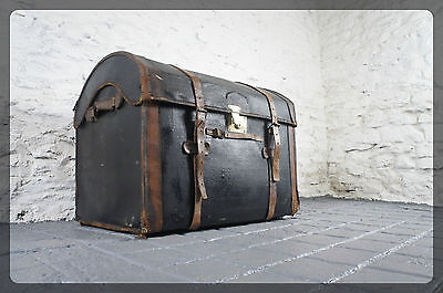 Antique Canvas & Wicker Domed Topped Trunk / Chest - Leather Straps & Brass Lock
