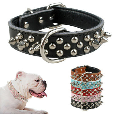 Genuine Leather Padded Pet Dog Collars with Spiked Studded for Pitbull Bulldog