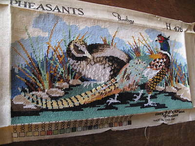 Vintage Tapestry Male & Female Pheasants completed Needlepoint  Tapestry