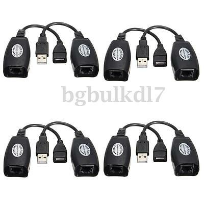 8x USB Extension Ethernet RJ45 Cat5e/6 Cable LAN Adapter Extender Over Repeater