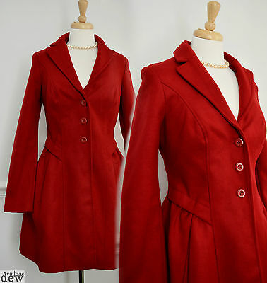 VINTAGE style 1940'S 50'S blood red FIT & FLARE COAT WOOL ww2 PRINCESS  M 14 12