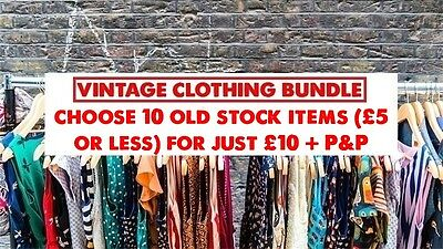 VINTAGE clothing bundle/joblot: choose 10 x £5 or less OLD STOCK items for £10
