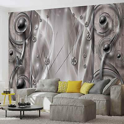 WALL MURAL Silver Grey Black Abstract Modern XXL PHOTO WALLPAPER (2595DC)