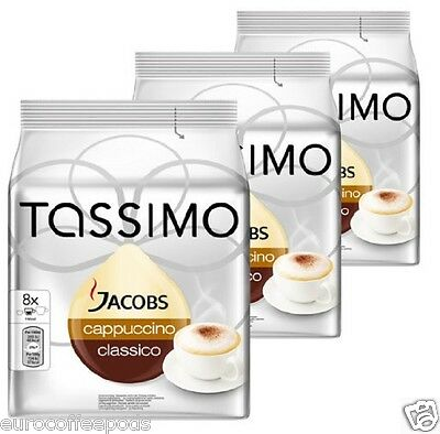 Tassimo Jacobs Cappuccino Coffee 3 Pack 48 T-Disc 24 Servings