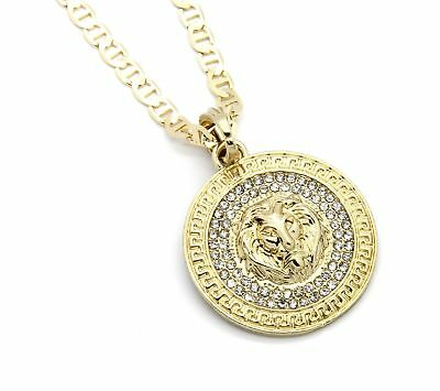 "Mens Medallion Patern Lion Gold Plated 24"" Gucci Chain Pendant Necklace"