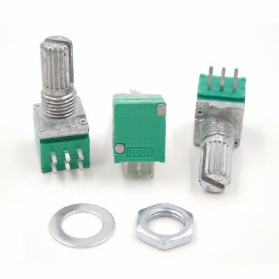 B50K Audio Amplifier Sealed Potentiometer 15mm Shaft 6 Pins with Nuts 5PCS