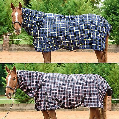 White Horse Plaid Breathable Rip Stop Waterproof Turnout Combo Rug 100g & 200g