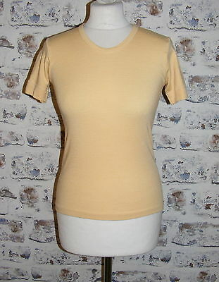 Size 8-10 vintage 70s short sleeve skinny fit thermal t-shirt yellow (GT82)