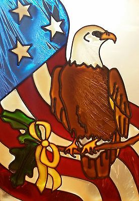 Vintage Handcrafted Patriotic American Eagle Stained Glass in Frame