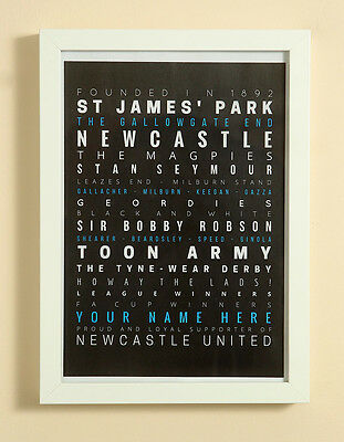 Newcastle United FC Football Word Art Print Christmas Gift Framed Personalised