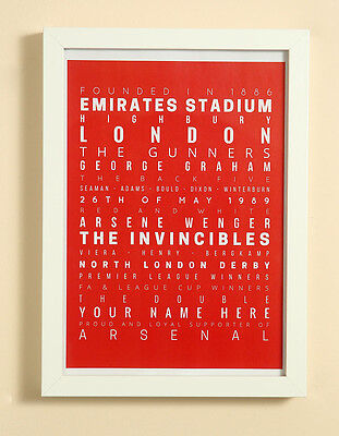 Arsenal FC Football Word Art Print Christmas Gift Framed Personalised Gunners