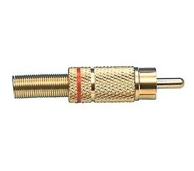Plug RCA gold plated, red, cable mount