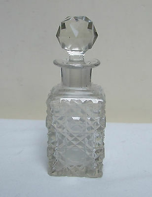 "Clear Cut Glass Perfume Scent Bottle & Stopper 4.5"" Vintage"