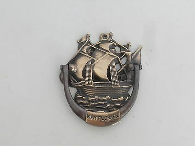 Vintage brass door knocker MAYFLOWER Ship  Made in Denmark