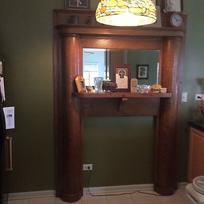 antique solid oak fireplace surround