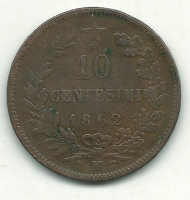 Very Nice 1862 M 10 Centesimi Italy Coin-Nov184