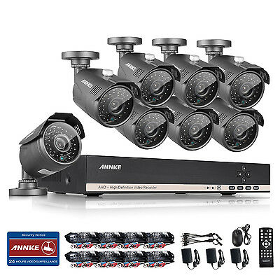 ANNKE 8CH 1080N HD Video DVR 1800TVL In/ Outdoor IR CCTV Security Camera System