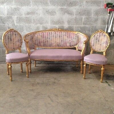 antique living room set, sofa (marquisa) with two mathing chairs