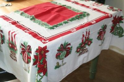 Vintage Christmas Candles Holly Ornaments Bows Poinsettia Tablecloth 58x70