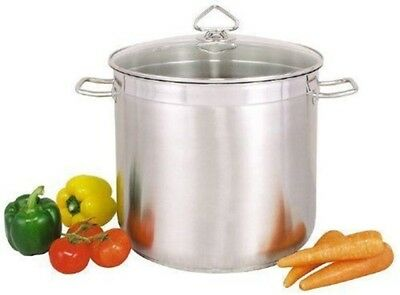 Large Deep Stainless Steel Cooking Stock Pot Casserole Glass Lid