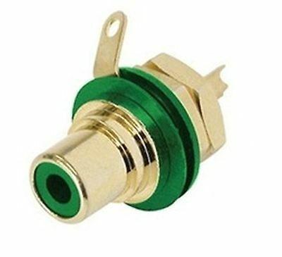 Jack RCA green, schielded, panel mount NEUTRIK-REAN