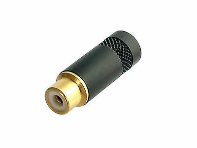 Jack RCA black, brass shell, cable mount,  NEUTRIK-REAN