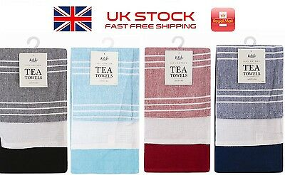 New 100% Cotton High Quality Large Kitchen Tea Towel - 3 Pack