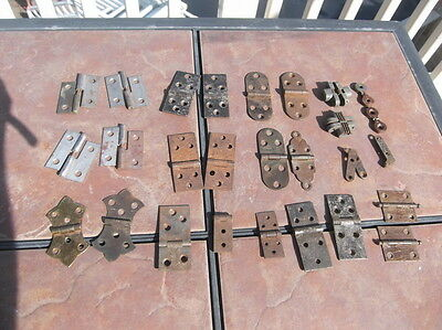 Lot of 10 Vintage Sets of Cabinet Door or Lid Hinges with Some Single Hinges
