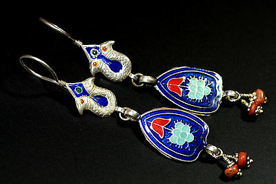 Superb Enamel Antique Coral Beads Sterling silver Earrings