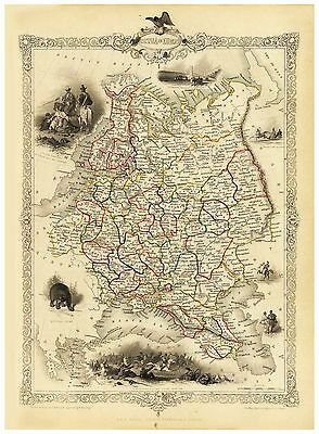 Old Vintage Map of Russia in Europe richly illustrated Tallis 1851