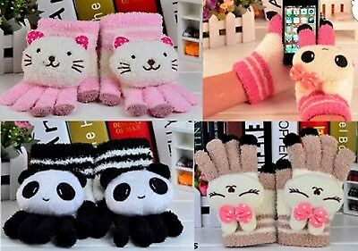 Kids/Teens Soft & Cute Animal Touch Screen Gloves. Gift/Stocking idea. New.
