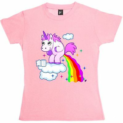 Unicorn Pooping Rainbow Juice From The Clouds Womens Ladies T-Shirt