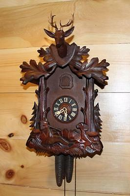German Black Forest Hunter Cuckoo Clock with Rare Animation