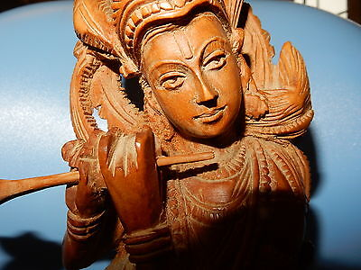 Antique/Vintage Krishna Hindu God Wood Figurine ornament statue Spiritual 3d