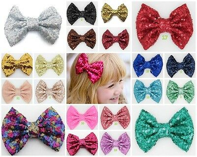 4 Inch Large sequin Glitter Sparkle Novelty Bow Hair Clip Alligator Clips