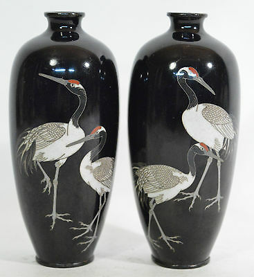 A fine pair of 19th century Japanese Meiji period cloisonné vases good condition