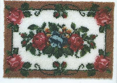 """""""Elegant Roses""""  A Large Latch Hook Rug Kit - 24"""" x 34"""" - This Is A  Rug Kit"""