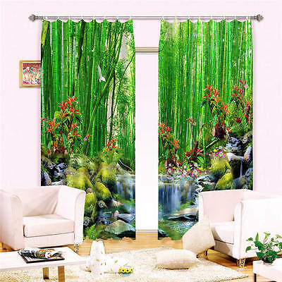 Green Banboo Streem 3D Customize Blockout Photo Curtains Print Home Window Decor