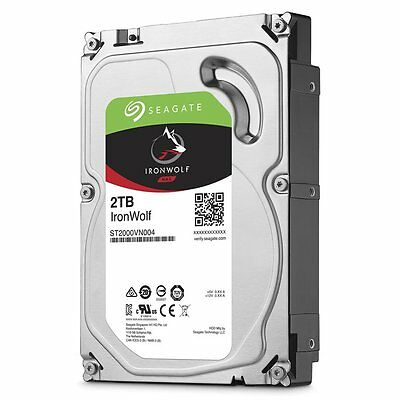 SEAGATE 3.5 2TB IronWolf NAS Internal Hard Drive HDD SATA 6GB/S 64MB ST2000VN004