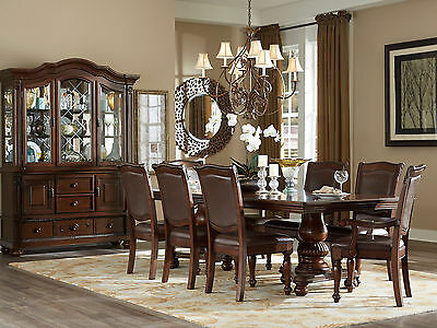 PORTOLA - 9pcs Traditional Cherry Brown Rectangular Dining Room Table Chairs Set