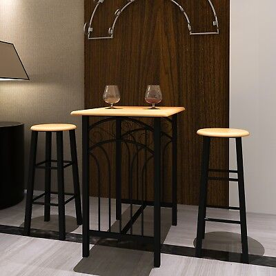 # New 3pc Dining Table Bar Chair Set High Stool Seat Funiture MDF Coffee Suite