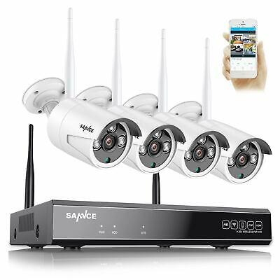 SANNCE 1080P 4CH NVR Wireless 720P IP Camera In/Outdoor IR Home Security System