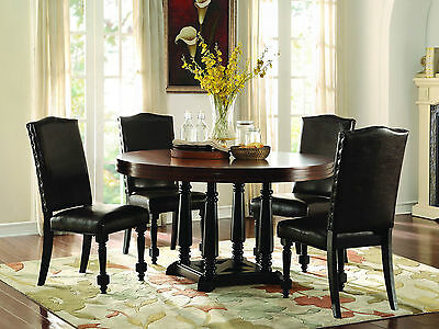 BRENTWOOD - 5pcs Traditional Cherry Brown Round Dining Room Table Chairs Set