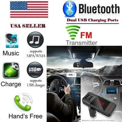 Bluetooth Car FM Transmitter Wireless Radio Adapter USB Charger For iPhone 8 7 6