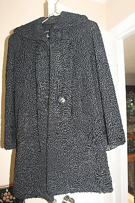 Vintage Persian Curly Lamb Black Coat Halle Brothers Cleveland  Ladies