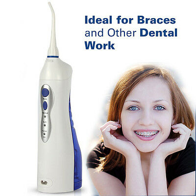 Portable Cordless Dental Oral Irrigator Water Flosser Teeth Cleaning 2 Nozzles