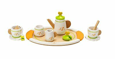Brand New Hape Tea for Two Set Wooden Pretend Play cups saucers tray pot
