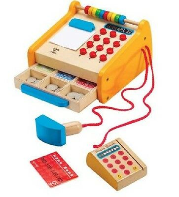 Brand New Hape Cash Register Pretend Play Toy Shop Role Play Money Credit Card