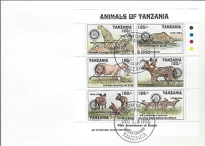 1995 Rotary International - Tanzania - 90'th Ann Animals S/S 1 FDC